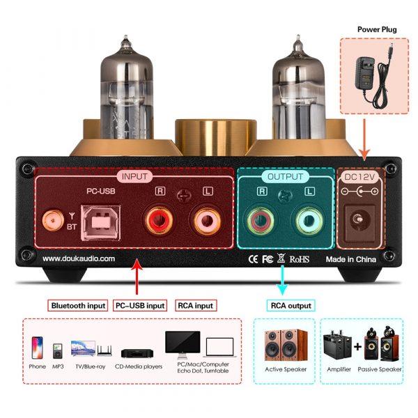 Nobsound HiFi Bluetooth 5.0 6J5 Valve Tube Preamp Bass Preamplifier Stereo Audio Headphone Amplifier USB DAC APTX 3