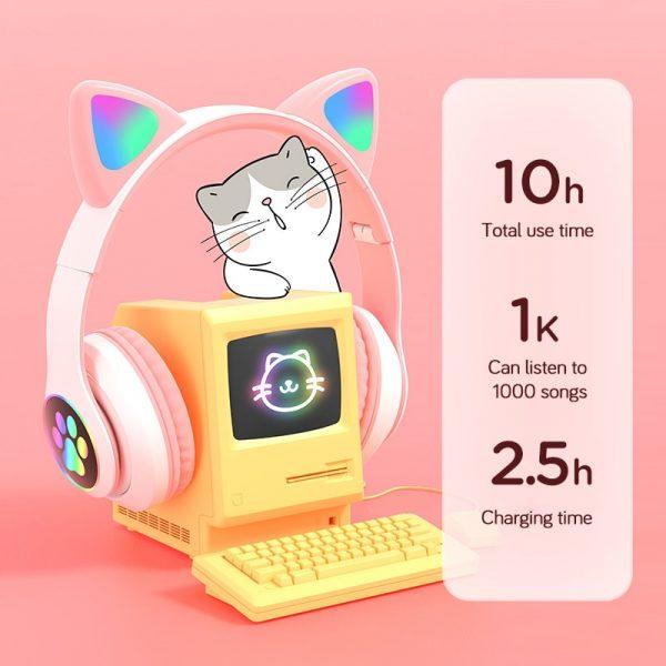 Flash Light Cute Cat Ears Bluetooth Wireless Headphone with Mic Can control LED Kid Girl Stereo Music Helmet Phone Headset Gift 5