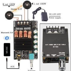 HIFIDIY LIVE Bluetooth 5.0 AUX TPA3116 Digital Power Amplifier board 2x 50W 100W speaker Stereo Audio AMP Module Home music 502C 1