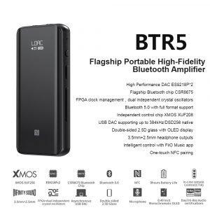 Fiio BTR5 ES9218P USB DAC Bluetooth 5.0 Headphone Amplifier AMP Receiver 3.5/2.5mm Output AAC SBC aptX LDAC Car Audio Amplifier 2