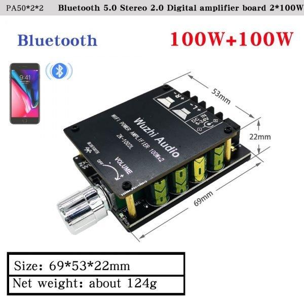 HIFIDIY LIVE Bluetooth 5.0 AUX TPA3116 Digital Power Amplifier board 2x 50W 100W speaker Stereo Audio AMP Module Home music 502C 5