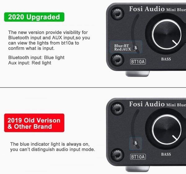 Fosi Audio Bluetooth 2 Channel Sound Power Stereo Amplifier TPA3116D2 Mini HiFi Digital Amp for Speakers 50W BT10A Treble & Bass 3