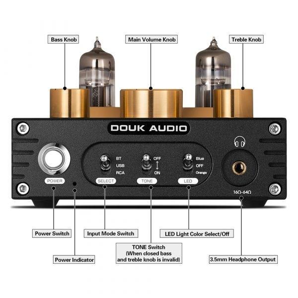 Nobsound HiFi Bluetooth 5.0 6J5 Valve Tube Preamp Bass Preamplifier Stereo Audio Headphone Amplifier USB DAC APTX 2