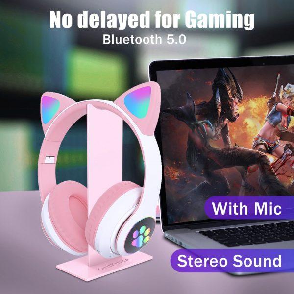Flash Light Cute Cat Ears Bluetooth Wireless Headphone with Mic Can control LED Kid Girl Stereo Music Helmet Phone Headset Gift 4