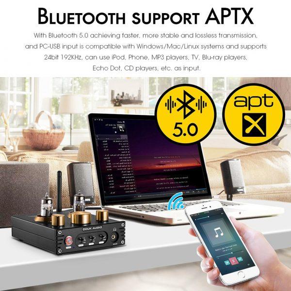 Nobsound HiFi Bluetooth 5.0 6J5 Valve Tube Preamp Bass Preamplifier Stereo Audio Headphone Amplifier USB DAC APTX 5