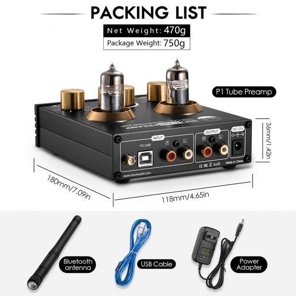 Nobsound HiFi Bluetooth 5.0 6J5 Valve Tube Preamp Bass Preamplifier Stereo Audio Headphone Amplifier USB DAC APTX 6