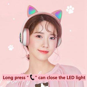 Flash Light Cute Cat Ears Bluetooth Wireless Headphone with Mic Can control LED Kid Girl Stereo Music Helmet Phone Headset Gift 2