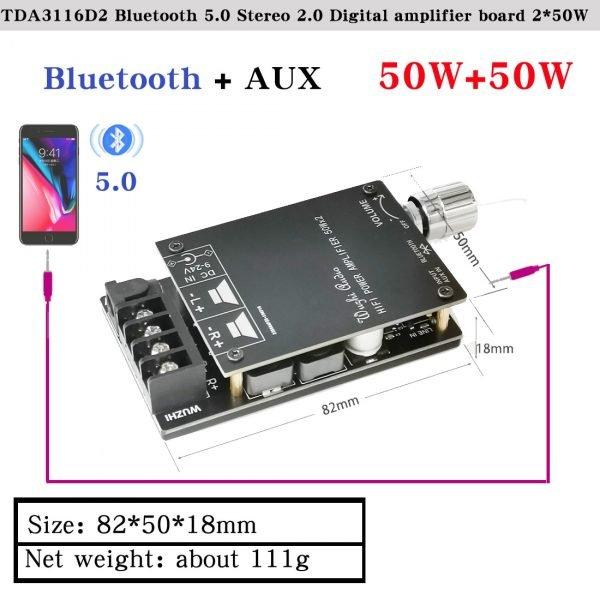 HIFIDIY LIVE Bluetooth 5.0 AUX TPA3116 Digital Power Amplifier board 2x 50W 100W speaker Stereo Audio AMP Module Home music 502C 4