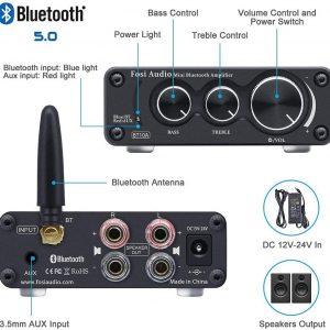 Fosi Audio Bluetooth 2 Channel Sound Power Stereo Amplifier TPA3116D2 Mini HiFi Digital Amp for Speakers 50W BT10A Treble & Bass 2